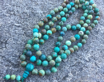 Genuine Turquoise 108 Bead Mala Necklace