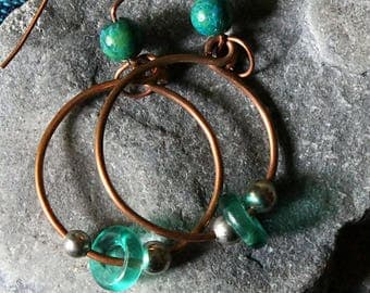 Boho Tribal Earrings, Copper Wire, Gypsy Bohemian Earrings,Gypsy Hippie Hoops, Bohemian Copper Earrings, Gift