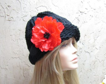 Black Cloche Adult Hand Knit Hat with Removable Red Flower Ready to Ship