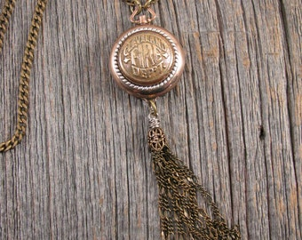 Button Jewelry - State Jewelry - Cleveland Fire Department Brass Button Tassel Necklace  - Upcycled Watch Case - Long Length Brass Tassel