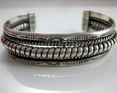 Vintage Sterling Silver Mexico Wire Rope Cuff Bracelet Signed TC-155
