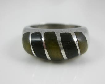Size 8 Vintage Sterling Silver Oval Tigers Eye Ring - Hallmarks Mexico 925