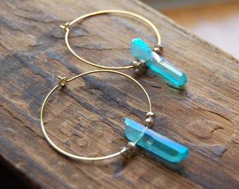 Blue Aura Quartz Crystal Gemstone Point Hoop Earrings. Aquamarine Blue Raw Stone Points. Gold Hoop Earrings