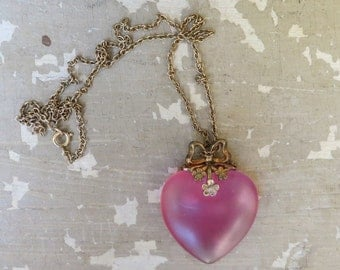 A Translucent Pink Heart Necklace