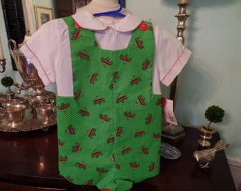 Boys green and red wagon shortall size 12 mos