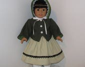 Green Civil War Jacket, Hat, Dress, and Pantaloons, Fits 18 Inch American Girl Dolls