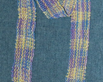 Women's Scarf, Handwoven Cotton. Pastel Shades of Purple, Blue and Yellow
