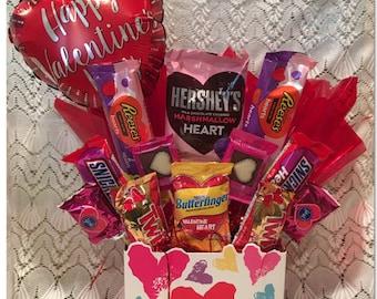 Valentine Candy Arrangement with Balloon, Valentine Candy