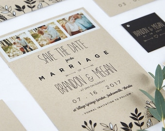 Leafy Frame Design Photo Wedding Save The Date