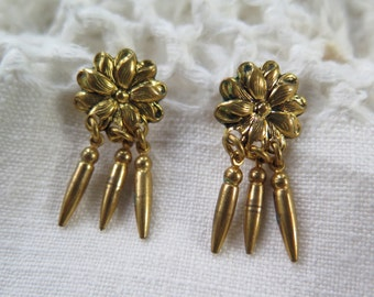 Vintage Dangle Earrings Gold Tone Metal Flowers with Drops Screw Back
