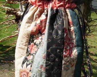 Blackbird Designs Quilted Drawstring Tote , Purse, Knitting Bag, Baby Bag,Travel Bag