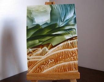 ACEO Green Hills / Encaustic (Wax) Original Art / Blue Gray, Forest Green, Rust Brown / SFA (Small Format Art)