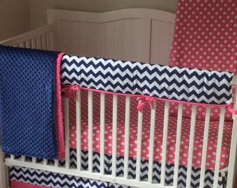 Baby Girl Crib Bedding Modern Hot Pink and Navy Bumperless