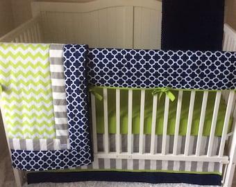 Baby Boy Crib Bedding Set Modern Navy Gray and Lime