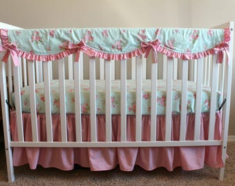 Shabby Chic Vintage Floral Custom Crib Bedding Set - Pink Ruffled Baby Girl Bedding