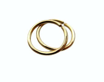 Solid Gold Small Hoop Earrings for Sensitive Ear 10K Yellow Gold 20Gauge 8mm