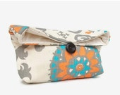Black Friday Cyber Monday Orange, Aqua Blue, Light Gray and Natural Ivory Clutch Purse, Cosmetic Makeup Bag,Travel, Bridesmaid Gift, Floral
