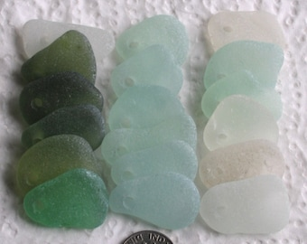 18 Sea Glass Shards Beach String Dangles Top Drilled 3mm holes Imperfections Supplies (1948)