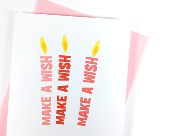 Celebration Card for Her, Pink Candle Birthday Card, Make A Wish Card, Happy Birthday Greeting Card, Cute Birthday, Card for Birthday Party