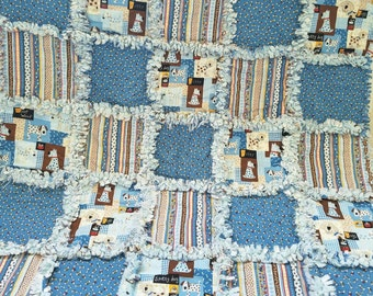 Cute puppy dog rag quilt blanket for baby boy.  Sweet blues and browns.
