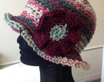 Crocheted Cranberry Hat with Oversized Flower and Ruffle