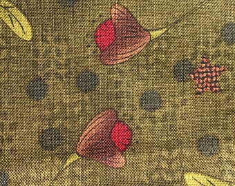 1/2 yard of premium whimsical Cotton fabric. - Green w/flowers (146FH)