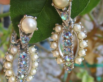 Vintage Signed BOGOFF Rhinestone Faux Pearl Silver Tone Dangle Clip On Earrings