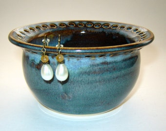 Blue Earring Bowl – Handmade Jewelry Holder – Necklace Storage – Denim Blue – Home Décor – Gift for Her - Stoneware Bowl