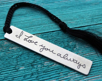 Custom Handwriting Book Marker engraved with your loved one's actual handwriting, fine pewter