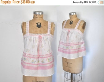 50% OFF Pink Babydoll Top Lace Floral Tank Shirt / M-L
