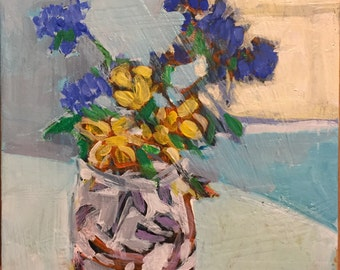 "Little Bouquet - Original Acrylic Oil Encaustic Still Life Painting - 8""x 8"""