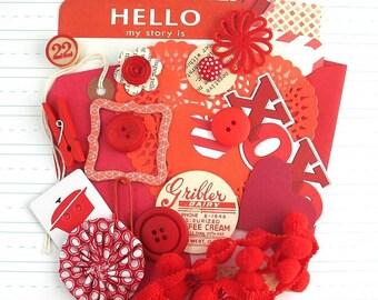Red Junk Journal Kit, Scrapbooking Kit, Embellishment Kit, Red Inspiration Kit, Creativity Pack, Valentines Embellishments, Smash Book Kit