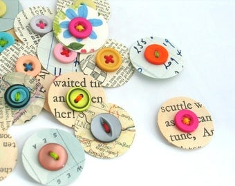 VINTAGE Paper Dot Scrapbook Embellishments, Smash Book Junk Journal Planner Embellishments, Paper and Button Embellishments, Set of 12