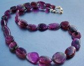 """RESERVED for D...Gem Rubellite Pink Green Natural Watermelon Tourmaline Free Form Smooth Nugget Beads 16"""" Finished necklace"""