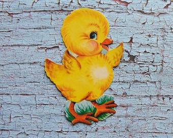 Vintage Mini Dennison Die Cut Chick Cardboard Easter Decoration