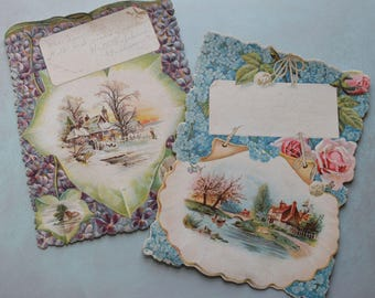2 Large Antique Victorian Scenic Floral Greeting Cards