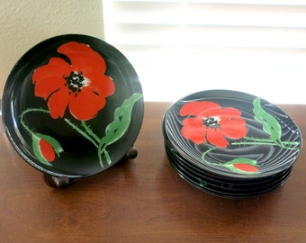 Fitz & Floyd Salad Dessert Plates 8 Pavot Noir Pattern Made in Japan Vintage 1980s Red Poppies