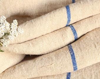 R 527 antique hemp linen roll BRIGHT BLUE grain sack fabric 11.03yards wedding decor lin 23.62wide