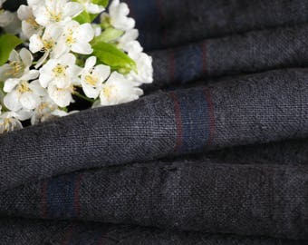 R 629 antique handloomed 리넨 lin CHARCOAL BLACK 5.79yards rural;  by 21.65inches ; cushion, pillow, french lin,upholstery fabric
