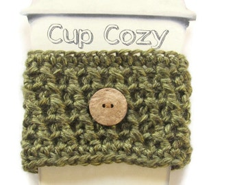 Ready To Ship - Crocheted Olive Green Coffee Cup Cozy - Crocheted Olive Cup Sleeve - Crocheted Cup Warmer With Button