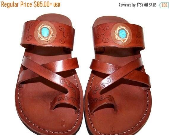 20% OFF Brown Decor Bath Leather Sandals For Men & Women - Handmade Sandals, Leather Flip Flops, Jesus Sandals, Leather Flats, Brown Leather