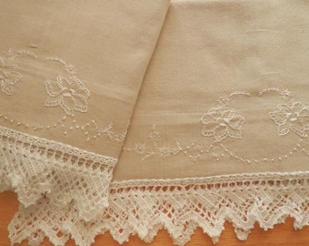 Personalized, Linen-Look Cotton Pillowcases, White Floral Embroidery, White Crocheted Edging