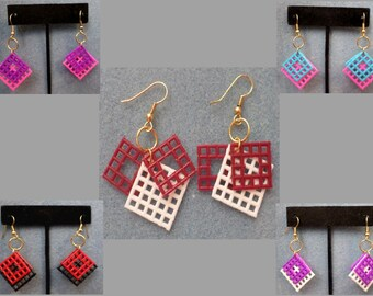 Plastic Canvas Earrings - 3/4 inch Two Color Layered Squares