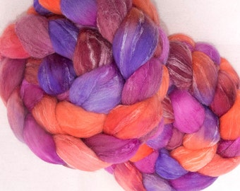 Hand dyed spinning wool, roving, extra fine Merino, Tussah Silk, hand dyed fiber, spinning fibre, Felting fiber, New best friend