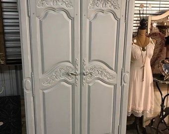 Grey French Style Armoire
