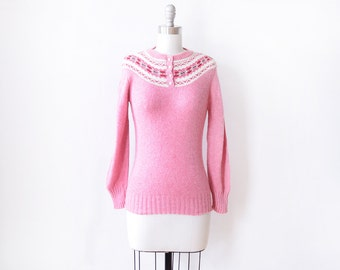 pink fair isle sweater, vintage nordic sweater, 80s pullover knit jumper, extra small xs
