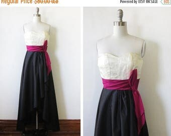 50% OFF SALE 1980s party dress,  vintage black and white evening dress, 80s does 50s high low strapless dress