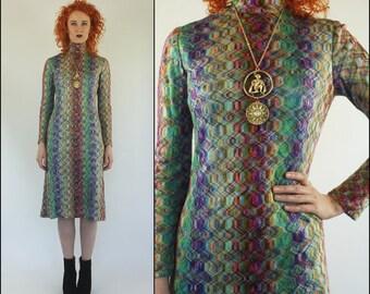Vintage 60's Mod Knit Boho Colorful Shift Midi dress  XS S