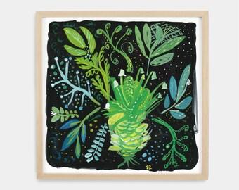 Wall art, Original painting, Midnight Gardenl Painting, Green and Black Floral Painting, floral art, affordable art, 8x8, Gallery wall