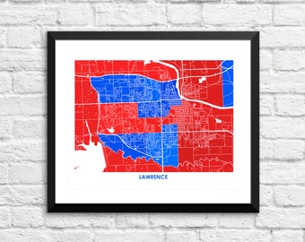 Lawrence Map Print.  Choose the Colors and Size.  Perfect for your University of Kansas Jayhawk. UK Art.